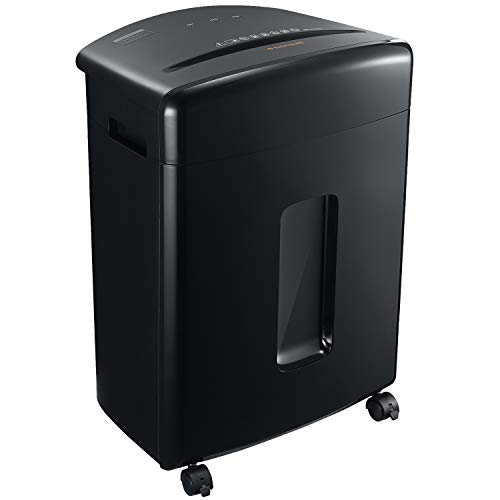 Bonsaii 20-Sheet Heavy Duty Cross-Cut Paper/CD/Credit Card Shredder with 6.6 Gallon Pullout Basket and 4 Casters, 20 Minutes Running Time, Black (C222-A)