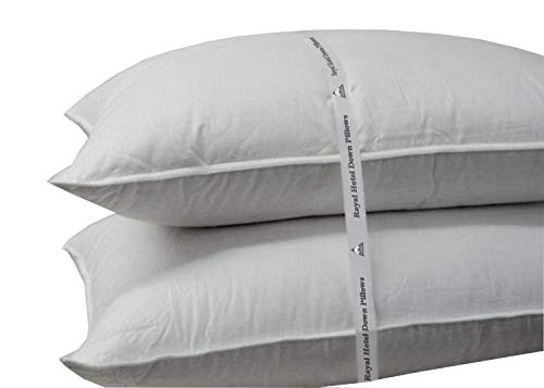 Royal Hotel Medium-Firm Down Pillow - 500 Thread Count Cotton Shell, Down Pillow Medium Support, Standard/Queen Size, Medium Firm, 1 Single Pillow