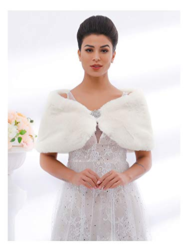 Unicra Women's Faux Fur Capes with Brooch Wedding Stoles Bridal Faux