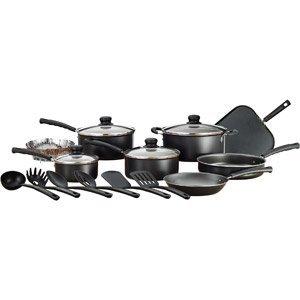 Mainstays 18-Piece Nonstick Cookware Set (black)