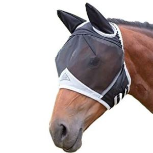 Shires Fine Mesh Fly Mask with Ears Black Full