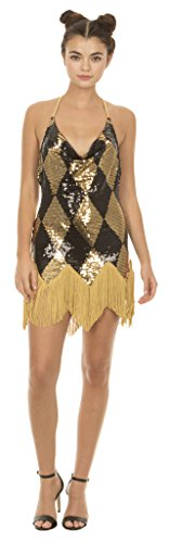 Underboss-Suicide-Squad-Harley-Quinn-Sequin-Chemise-Costume-Dress-with-Fringe-Adult-Large