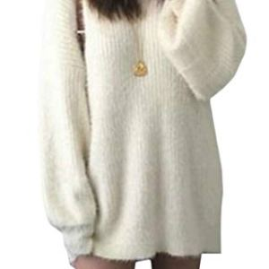 Yayu Women's Long-Sleeve Solid Color Knitted Pullover Loose Fit Oversized Sweaters