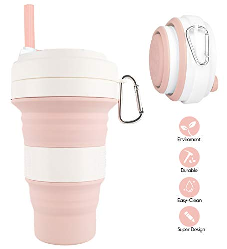 Collapsible Silicone Cup - Idealife Drinking Cup Foldable Cup with 3 Adjustable Capacities, BPA Free, Portable Folding Cup for Travel Camping Hiking Office, Max Up to 550ml (Pink)
