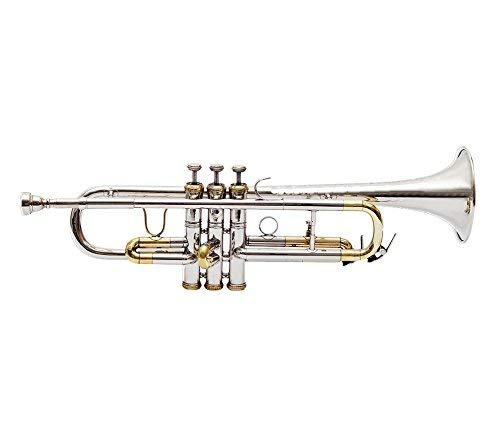 TRUMPET Bb PITCH FOR SALE NICKEL + BRASS COLOR WITH FREE CASE AND  MOUTHPIECE - Music