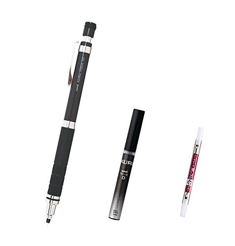Uni Kuru Toga Roulette Model Auto Lead Rotation Mechanical Pencil 0.5 Mm - Gun Metallic Body (M5-10171P.43) with the Spare 20 Leads Only for Kuru Toga & Pencil Eraser for Kuru Toga set