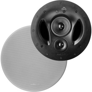 Polk Audio 90-RT 3-Way In-Ceiling Speaker - The Vanishing Series   Perfect for Mains, Rear or Side Surrounds   Paintable Wafer-Thin Sheer Grille   Dual Band-Pass Bass Ports for Low Frequencies
