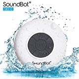 SoundBot SB510 HD Water Resistant Bluetooth 3.0 Shower Speaker, Handsfree Portable Speakerphone with Built-in Mic, 6hrs of playtime, Control Buttons and Dedicated Suction Cup for Showers (White)