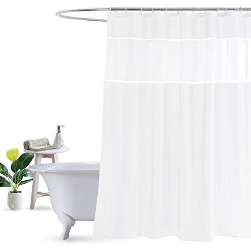 UFRIDAY White Shower Curtain with Light Filtering Window, Stall Size Fabric Shower Curtain Liner, 48 x 72 Inch