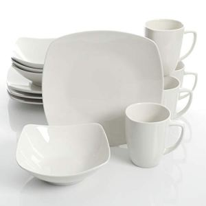 Gibson Home Zen Buffet Dinnerware Set, Service for 4 (12pcs), White (Square) 10