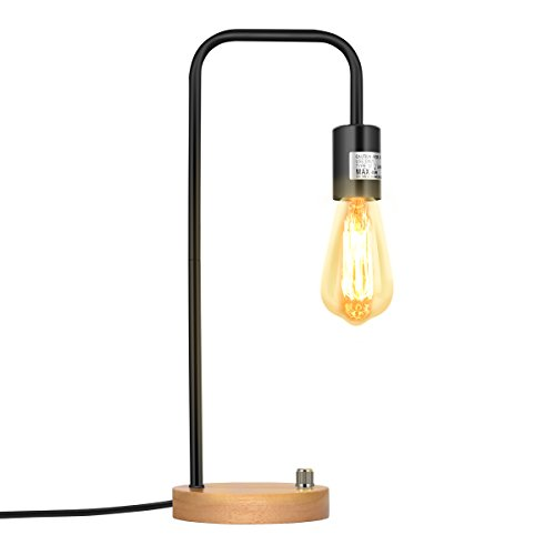 Oneach Vintage Desk Lamp with Modern Wooden Base Industrial Table ...