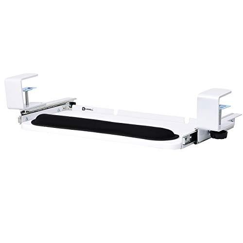 Kinwell Ergonomics Under Table Keyboard Tray Super Easy Clamp on Mechanism Memory Foam Wrist Rest Straps (20' White)