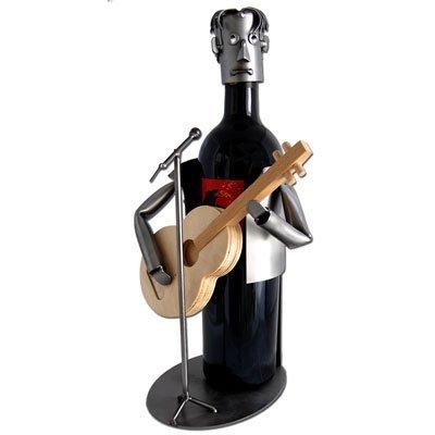 Guitar Player with Wooden Guitar Wine Bottle Holder H&K Steel Sculpture