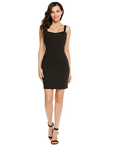Viedoct Women's Crew Neck Sleeveless Mesh Stitching Bodycon Pencil Party Dress (Black1, S)