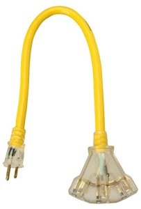 Coleman Cable 2882 15 Amp 2ft.12/3 STW Lighted Power Block with 3-Outlet, Yellow
