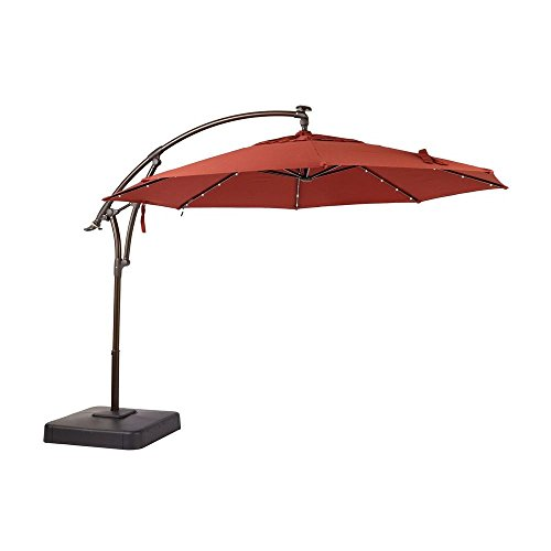 Hampton Bay 11 ft. LED Offset Outdoor Patio Umbrella With Base in Sunbrella Henna (YJAF-052L-C)