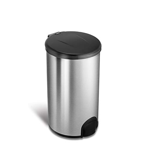 NINESTARS TTT-45-8 Automatic Tap Sensor Trash Can, 12 Gal 45L, Stainless Steel Base (Round, Black Lid)