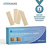 Aroamas Professional Silicone C-Section Scar Removal Sheets, Soft Adhesive Fabric Strips, Drug-Free, Relieves Itching, Remove Keloid Scars, Acne. 5.9'  1.57', 4 pcs (2 Month Supply)