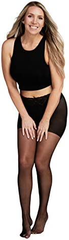 Black Sheer Pantyhose | Comfort Lace Top | Stay Up | Seven Sizes with Plus Sizes