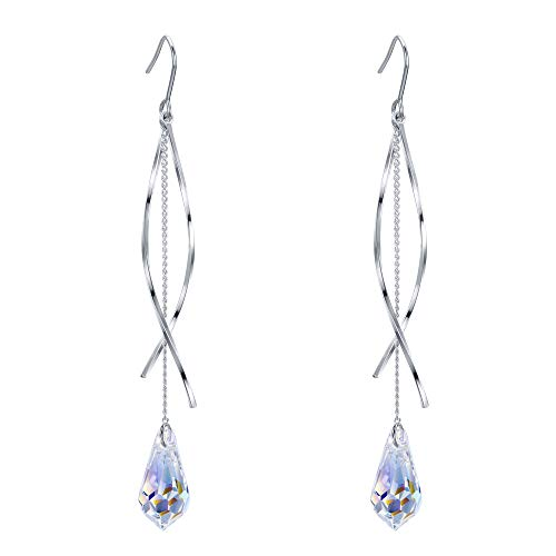 61tHXwhPvGL Adorned with crystals from Swarovski, this jewelry shines with grace and beauty. And the metal surface is of high polished finish. Swarovski Crystals Color: Aurora Borealis Clear ; Earring Length: 3in, Earring Width: 0.4in; Each Earring Weight: 3.8g. A ideal accessory to your outfit or as an appropriate gift, e.g.for your Lover, Girlfriend, Wife, Mother, Daughter, Sister, Fiancee, Couple, Valentine or Best Friend,etc; Suitable for daily wear, ball, party, anniversary, prom, graduation, birthday or any special occasions.