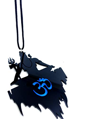 31KGjAT%2BmgL Clean & Clever Car Logo Lord Shiva on Kailash Parbat with Om (Blue) Hanging Emblem Ornament Decor Accessories for Rear View Mirror