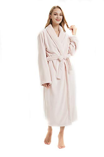 NEW DANCE Fleece Robe Women Winter Warm Bathrobe,Pnk,M Pink