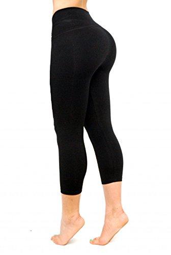 "Black Capri Leggings, Butt Lifting Thigh Slimmers with High Rise Waist Control by Curvify (Fits a 39"" to 41"" Waistline, Black Capri 1010-2XL)"