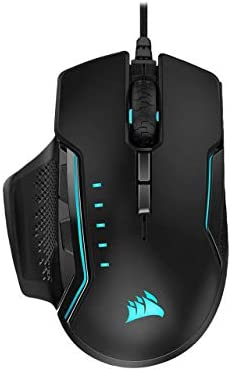 CORSAIR Glaive RGB PRO Comfort FPS/MOBA Gaming Mouse with Interchangeable Grips Black Backlit RGB LED 18000 dpi Optical Model CH-9302211-NA