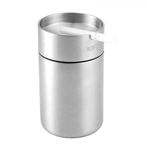 WOFO Ashtray, Stainless Steel Car Ashtrays, Cigarette Ashtray for Car or Outdoor Use, Ash Holder for Smokers, Windproof Automatically Extinguished Ash Tray (Large)