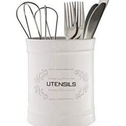 French White Ceramic Utensil Holder