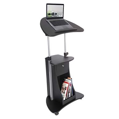 Techni-Mobili-Sit-to-Stand-Mobile-Medical-Laptop-Computer-Cart-Black