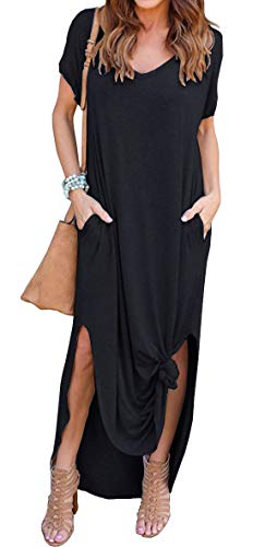 GRECERELLE Ladies's Informal Free Pocket Lengthy Costume Brief Sleeve Cut up Maxi Costume Black S deal 50% off 31LbG9GOPPL