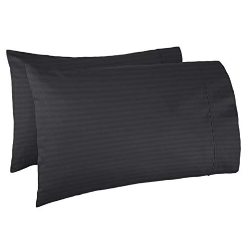 Nestl Bedding Soft Pillow Case Set of 2 – Double Brushed Microfiber Hypoallergenic Pillow Covers – 1800 Series Damask Dobby Stripe Pillow Cases, Standard/Queen - Black