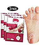 Foot Peel Mask 3 Pack, Exfoliator Peel Off Calluses Dead Skin Callus Remover,Baby Soft Smooth Touch Feet-Men Women (rose)