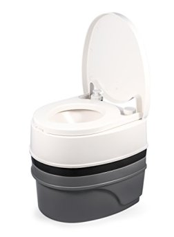 Camco Premium Portable Travel Toilet With Three Directional Flush and Swivel Dumping Elbow | Designed for Camping, RV, Boating And Other Recreational Activities - (5.3 gallon) (41545)