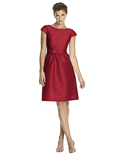 31MT9w%2Br2DL Cocktail length dupioni bateau neck dress Cap sleeves and matching picot edge bow belt at natural waist Full shirred skirt has pockets at side seams