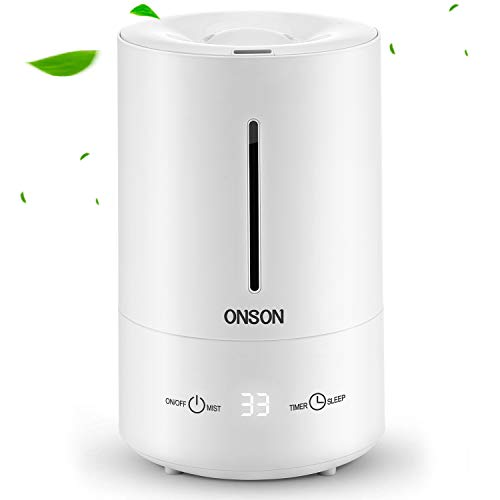 ONSON 2019 Humidifier, 4.5L Ultrasonic Cool Mist Humidifier for Bedroom Baby Home, Large Room Vaporizer Humidifying Unit with Whisper-Quiet, Auto Shut-Off, 24h Air Humidifying(White)