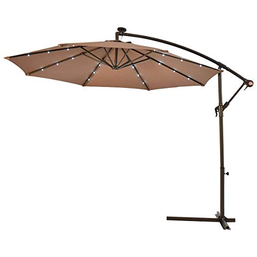 Tangkula 10FT Outdoor Patio Umbrella Solar LED Lighted Sun Shade Market Umbrella with Hanging Cover and Cross Base