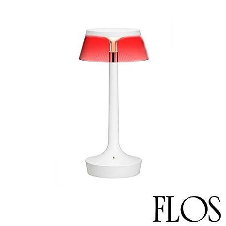 Flos Bon Jour Unplugged F1035009 Led Lampada Da Tavolo Bianco Con Corona Trasparente F1036000