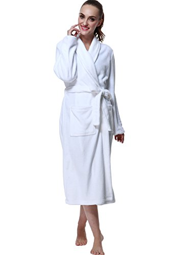Drowsy Cloud Bathrobe, Soft Women Robe Plush Kimono Collar Bathrobe White In Size M