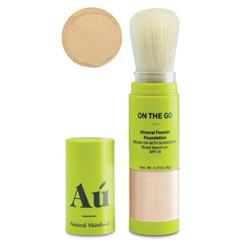 On the Go Mineral Powder Tinted Brush-on Sunscreen by Au Natural Skinfood | Broad Spectrum SPF 25 | Oil-free; Paraben, Fragrance Free in Light | Certified | Food For Your Skin | .21 ounce