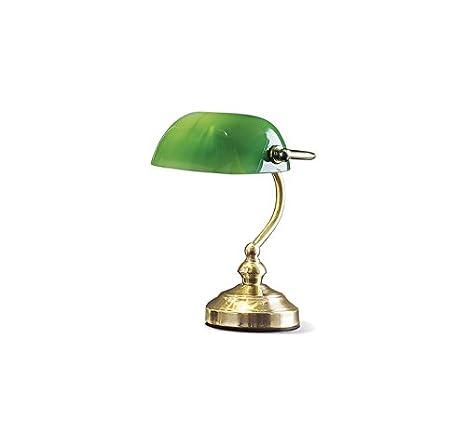 Lampada Da Tavolo In Ottone Lucido Con Vetro Verde Misure H 25 Cm 1xe14 Max 40w Lampada Modello Perenz 4806v