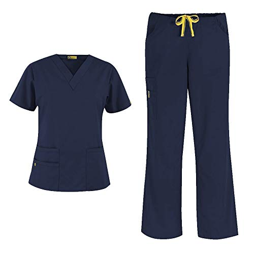 WonderWink Origins Women's 6016 Bravo Top & Romeo Pant 5026 Medical Uniform Scrub Set (Navy – Medium – Medium Petite) deal 50% off 31NPBPeX GL