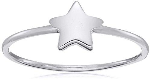 Amazon Collection14k Italian White Gold Star Ring, Size 7