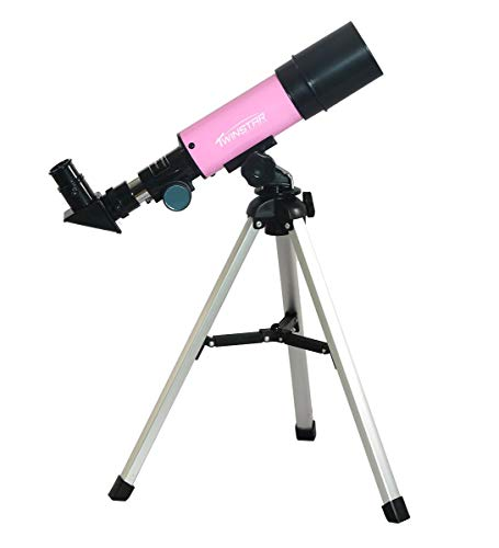 Twin Star 50mm Beginner Compact Refractor Travel Telescope (Pink)