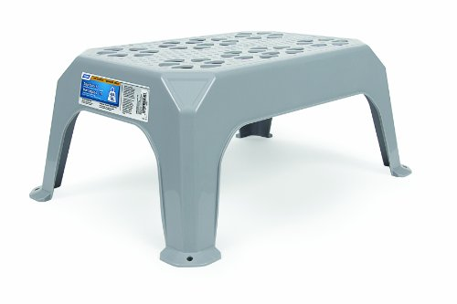 Camco Durable Step Stool - Textured Platform Surface to Help Prevent Slipping |Lightweight & Sturdy | Design Excellent for RVs, Trailers, Trucks| 300 lb. Capacity | 21' x 15' x 9' - Gray (43460)