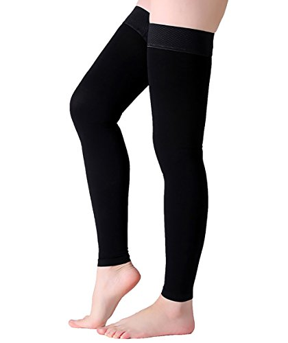 Thigh High Compression Stockings, Footless Compression Sleeves, Firm Support 20-30 mmHg Gradient Compression Socks with Silicone Band, Opaque, Treatment Swelling, Varicose Veins, Edema, Black XXL