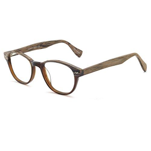 Non Prescription Optical Glasses Frame Stylish Bamboo Eyewear Wood Temples Men Women Eyeglasses Accessories (Brown)
