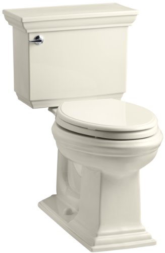 KOHLER K-3819-0 Memoirs Comfort Height Two-Piece Elongated 1.6 gpf Toilet with Stately Design, White