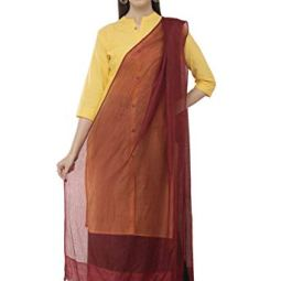 A R Silk Women's Cotton Self Check Regular Dupatta